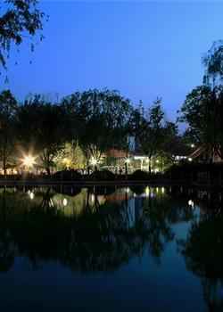 摄影图片夜幕下的康庄公园