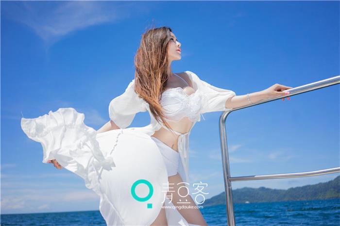 宛恩miyu白色漂亮蕾丝连衣裙写真