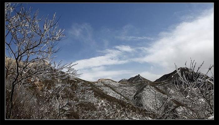 摄影图片 冰封雪盖得陈家堡长城