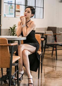 韩国美女吊带开叉长裙美腿高跟名媛气质性感写真
